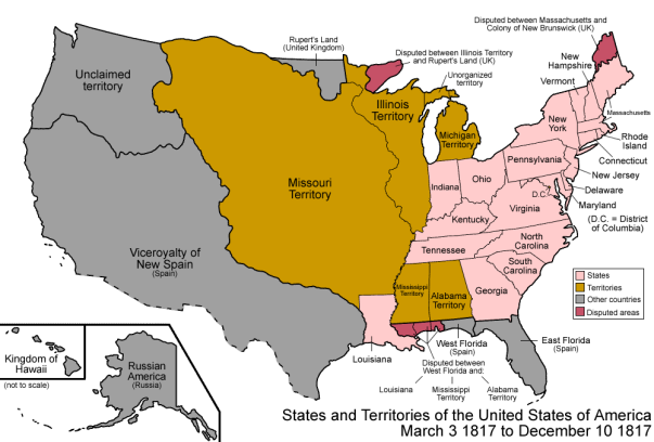 December 11, 1816: The southern portion of Indiana Territory was admitted as the 19th state, Indiana. The remainder became unorganized.
